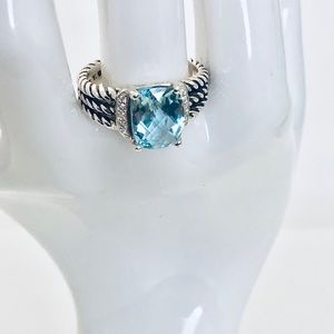 David Yurman 7 Petite Wheaton Blue Topaz Diamonds